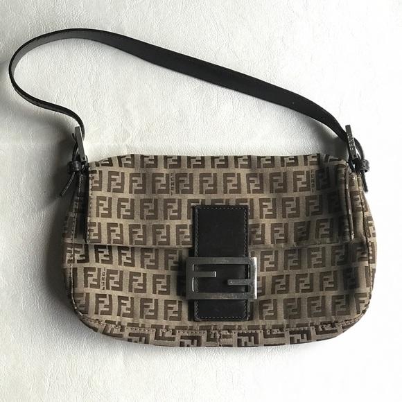 ac08b6292e Fendi Bags | Borsa Zucca Monogram Baguette Shoulder Bag | Poshmark